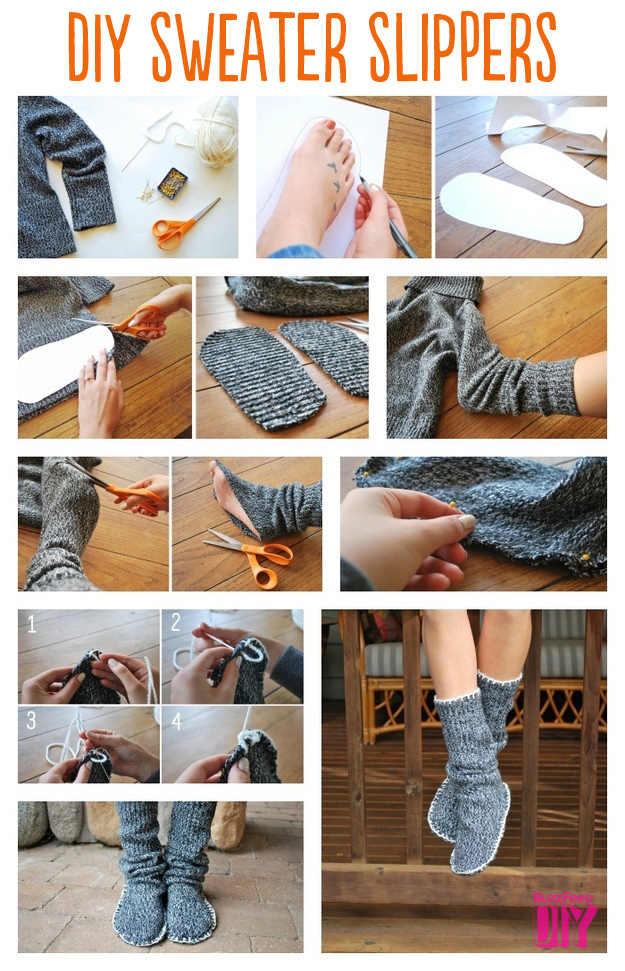 Sweater slipper boots