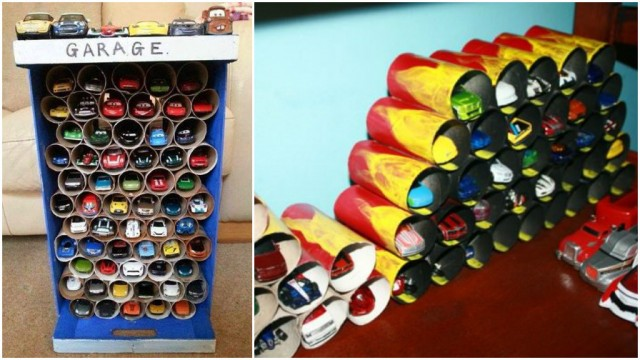 Toilet Paper Roll Toy Car Garage Organizer