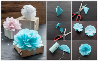 Paper flower how to instructions how to make tissue paper flowers for gift wrapping mightylinksfo