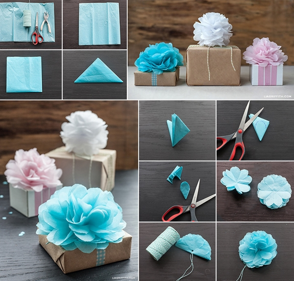 How To Make Tissue Paper Flowers For Gift Wrapping How To Instructions