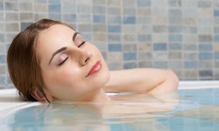 Lady hot tub