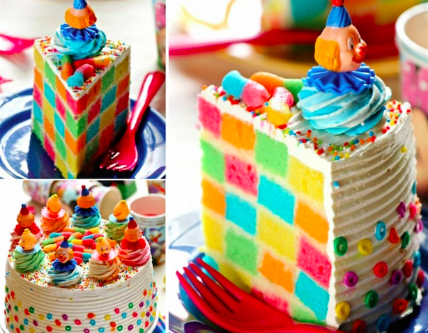 Rainbow Checker Board Cake
