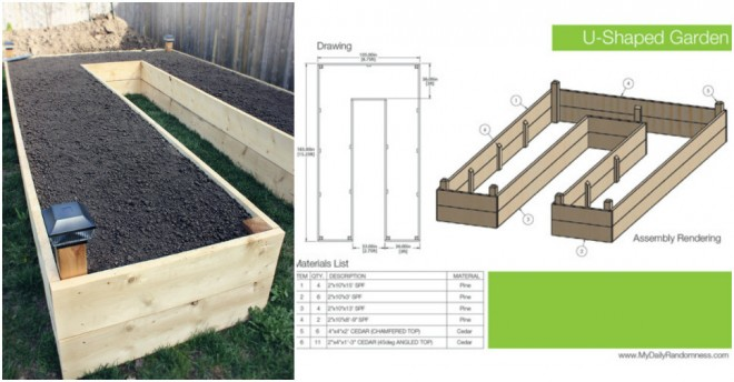 How to build a diy u shaped raised garden bed how to for Garden bed plans