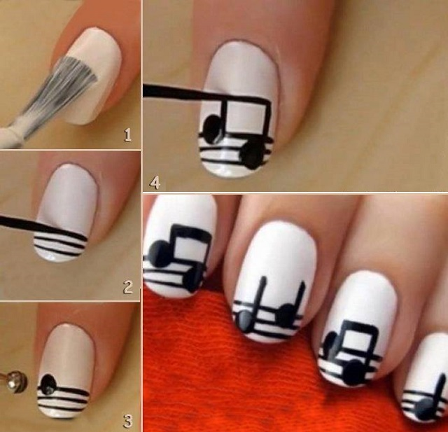 Music Notes Nail Art Manicure