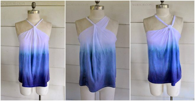 No-Sew Ombre Halter Top