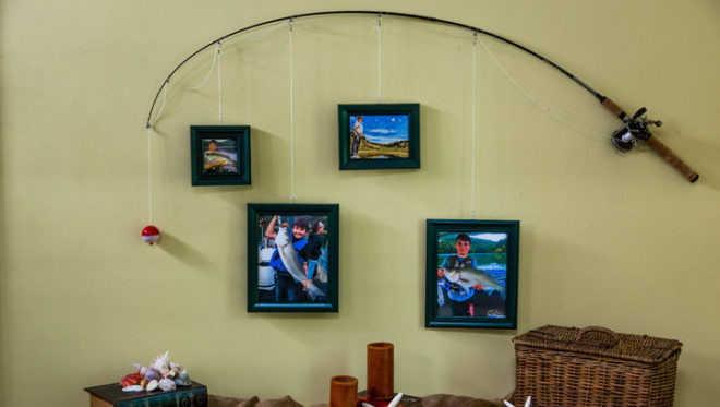 This Idea Is Really Simple All You Need To Do Fix The Fishing Pole On Wall And Hang Your Picture Frames Pod