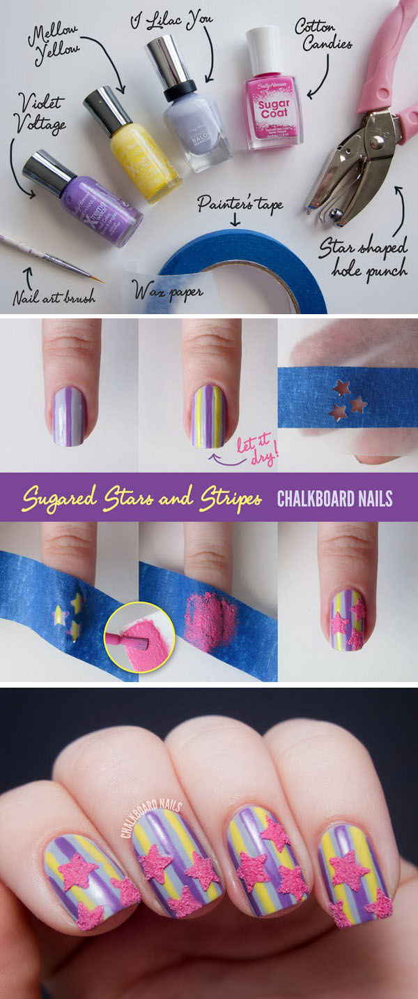 How To Make Sugared Stars And Stripes Nail Art 1