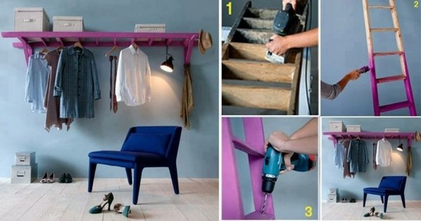 How To Turn An Old Ladder Into A Coat Rack