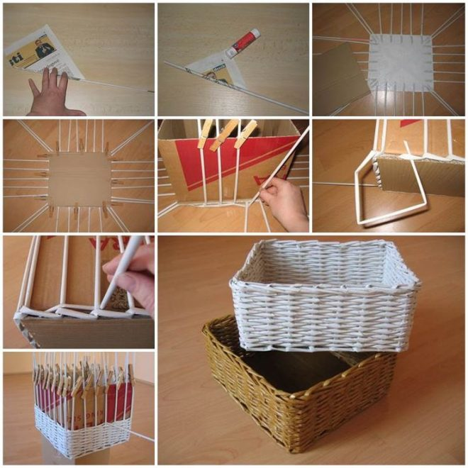 How To Weave A Basket Diy : How to weave a storage basket using newspaper