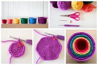 Rainbow Nesting Baskets Crochet Tutorial