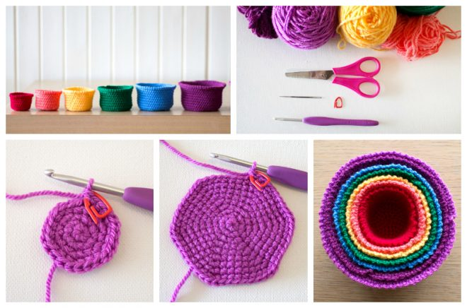 Rainbow Nesting Baskets Crochet Tutorial How To Instructions