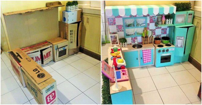 Cardboard play kitchen set