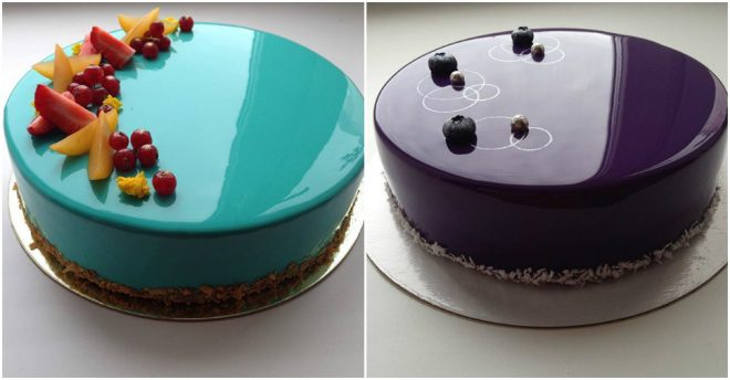 Mirror Glazed Marble-Like Cakes 12