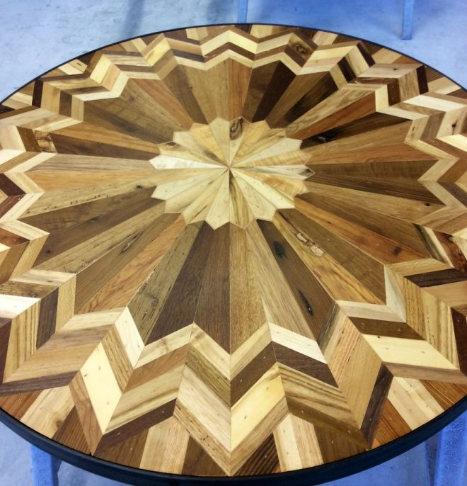 Quilt Inspired Tables From Salvaged Wood 5