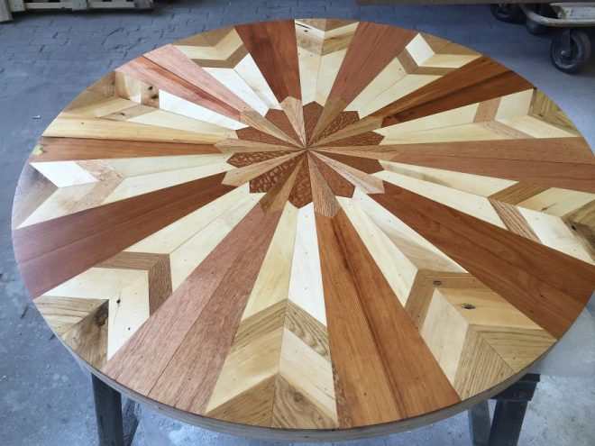 Quilt Inspired Tables From Salvaged Wood 7