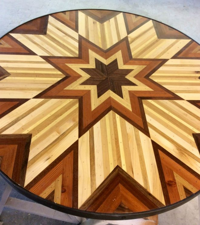Quilt Inspired Tables From Salvaged Wood 8