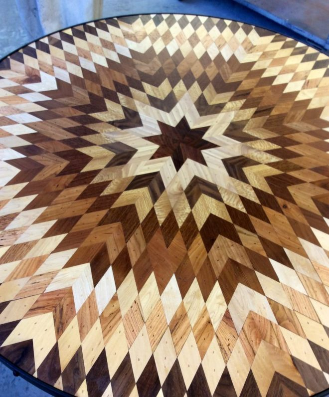 Quilt Inspired Tables From Salvaged Wood 9