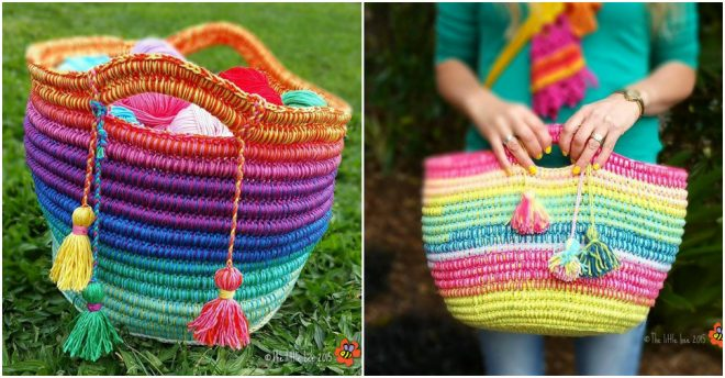 Ropey Rainbow Crochet Basket