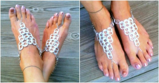 Soda Can Pop Tab Barefoot Sandals