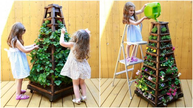 Earth Tower Vertical Garden Planter On Wheels 2