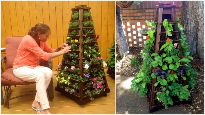 Earth Tower Vertical Garden Planter On Wheels