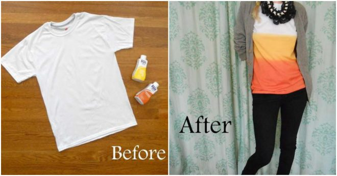 How To Make DIY Candy Corn Dip Dye T-shirt