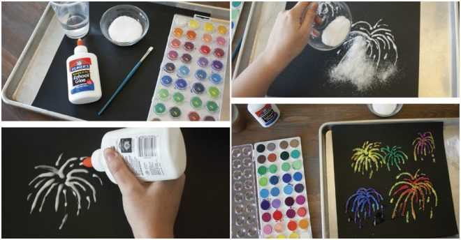 How To Make Firework Salt Painting 1