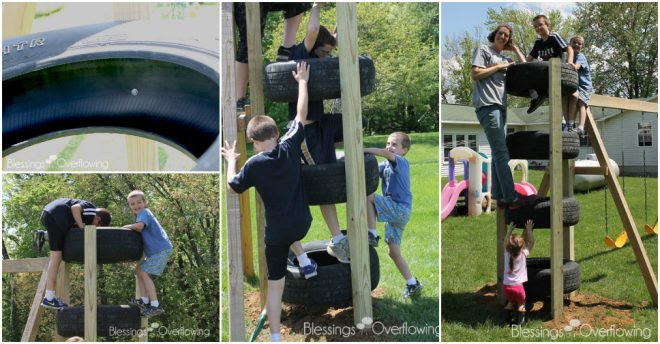 How To Make Recycled Tire Climbing Tower