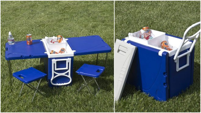 Multi Function Rolling Cooler Table Chair All-In-One