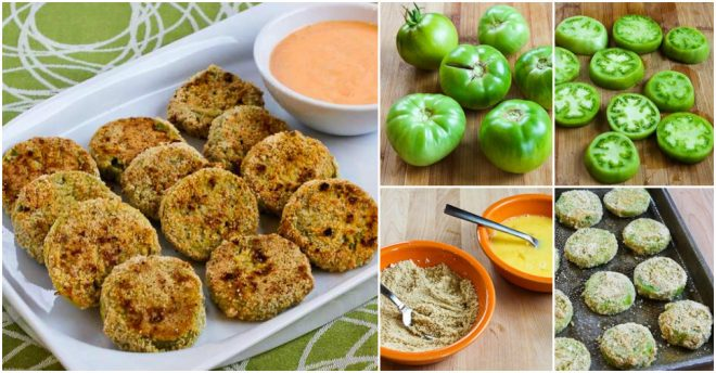 Oven-Fried Green Tomatoes with Sriracha-Ranch Dipping Sauce Recipe