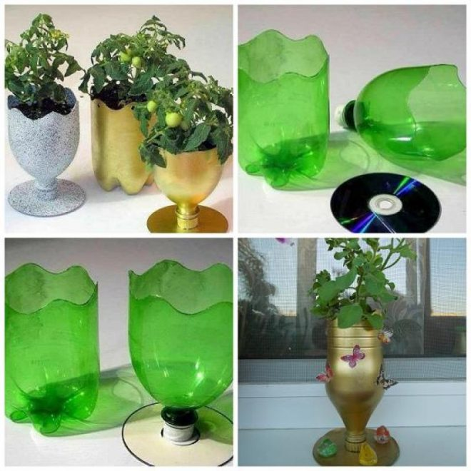 CD And Soda Bottle Flower Pot Tutorial