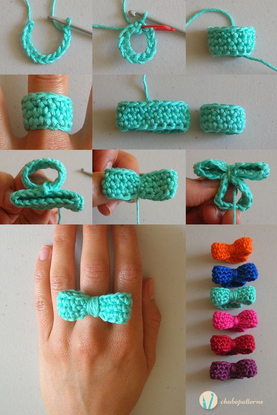 DIY Crochet Bow Ring Pattern & Video Tutorial How To Instructions