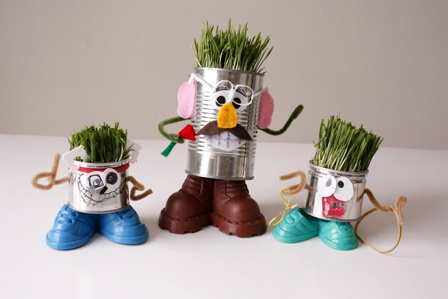 Fun Crafts For Kids - Wheat Grass Head Man 1