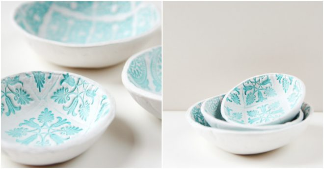 How To Make DIY Stamped Clay Bowls