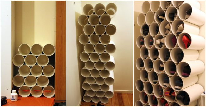 how to make pvc pipe shoe rack how to instructions. Black Bedroom Furniture Sets. Home Design Ideas