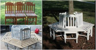 How To Turn Old Kitchen Chairs Into A Tree Bench