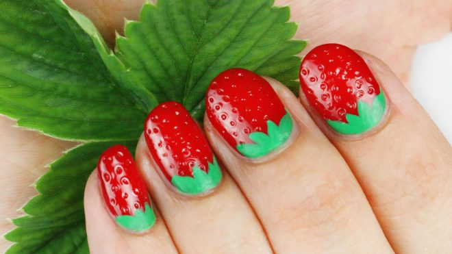 how-to-make-3d-strawberry-nail-art