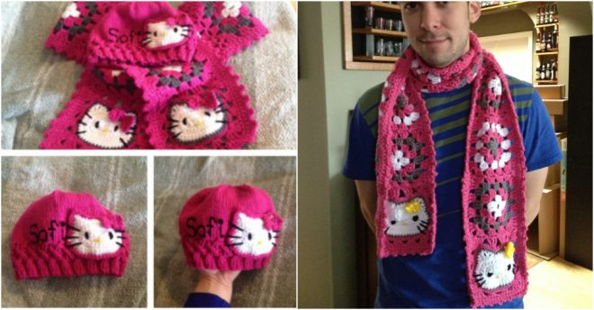 Hello Kitty Granny Square Scarf Crochet Pattern How To Instructions