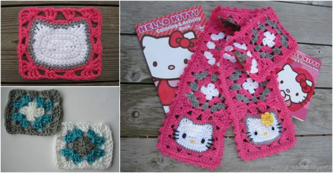 Hello Kitty Granny Square Scarf Crochet Pattern How To ...