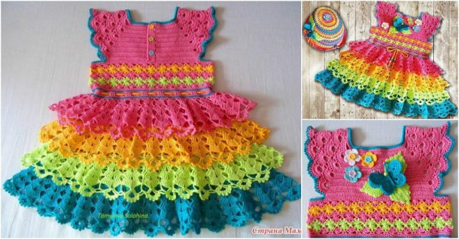 How To Crochet Baby Girl Rainbow Dress How To Instructions