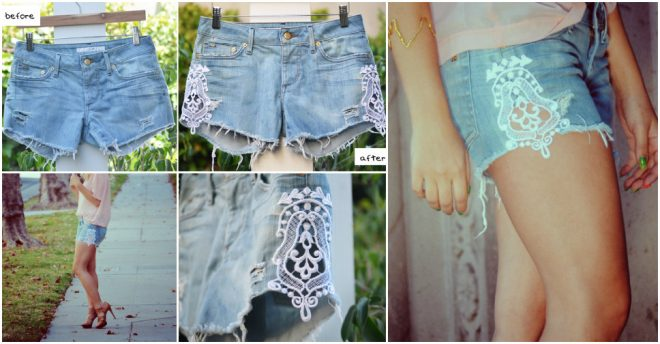 how-to-make-cute-denim-shorts-with-lace-from-old-jeans