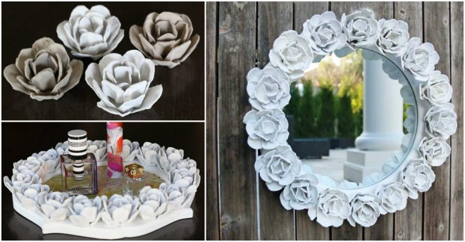 how-to-make-egg-carton-flowered-mirror-frame