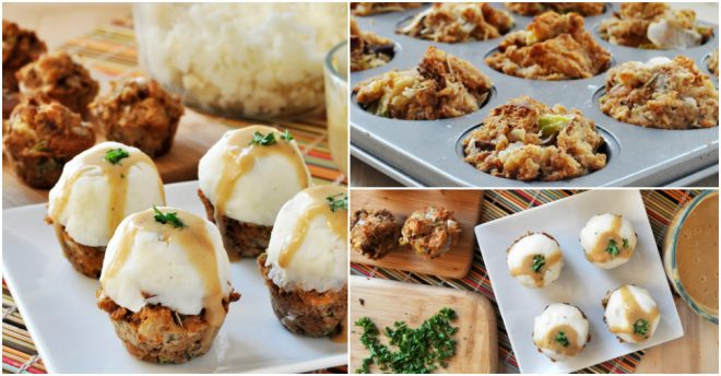 vegan-gluten-free-stuffing-muffins-with-mashed-potatoes-and-gravy